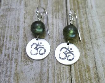 OM Earrings. Aum earrings. labradorite earrings. yoga jewelry. sterling silver OM charms. zen Buddhism. mantra jewelry. Hindu earrings.