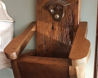 rustic wooden bottle opener box Adirondack chair