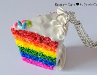 Rainbow Cake Slice Necklace - Miniature Food Jewelry - Cake Jewelry, Kid's Jewelry, Inedible Jewelry, Rainbow Cake Necklace, Dessert Jewelry