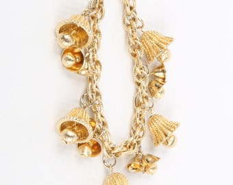 """1950's Jingle Bells Bracelet, Gold Tone Textured w Clappers, Excellent Condition, 7-1/2"""" L, Largest Bell is 5/8"""" H X 1/2 """" W, Beautiful."""