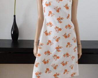 robe vintage 70's blanche/fleurs oranges taille 40 / uk 12 / us 8