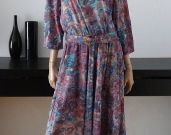 Robe vintage SUE SHERRY fleurie taille 46 - uk 18 - us 14