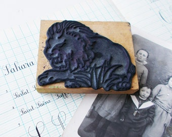 Lion Stamp Old French School Ink Rubber Stamp on a Wooden Block