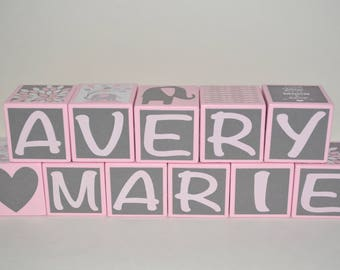 Baby Girl Blocks-Personalized Wooden Blocks-Baby Girl Nursery Decor-Baby Girl Shower Decorations-Pink and Grey Elephant-Baby Shower