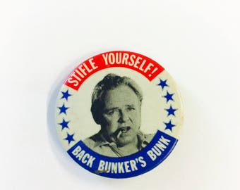Vintage Archie Bunker Pinback Button Stifle Yourself Back Bunker's Bunk Pin All in the Family 1970's Vtg TV Character 70's Show Buttons Pins