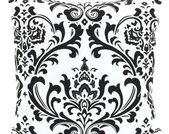 Black White Throw Pillow Covers, Cushions, Couch Pillows, Decorative Pillow, Damask, Bed Euro Sham, Throw Pillow, One or More All Sizes