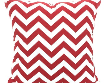 Red White Chevron Pillow Covers Decorative Throw Pillows Cushions Pillows for Couch, Decorative Pillow Red Zig Zag, One or More All Sizes