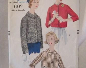 Vogue jacket pattern, Vintage Vogue pattern, 1950's jacket pattern, Vintage sewing pattern, 1959 Vogue pattern, Size 16 Bust 36 pattern