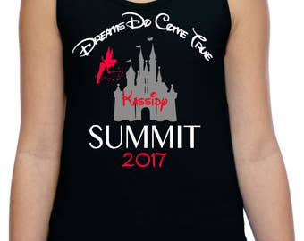 Cheer Summit 2017 Youth Tank top with glitter Cinderella castle, Dreams do come true