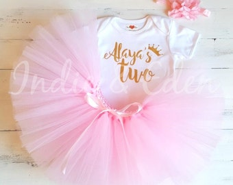 1st 2nd Birthday tutu girls pink personalised gold silver two one set flower headband photo prop cake smash