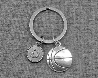 Basketball Keychain -Sports key chain -Initial Keychain -Your Choice of A to Z