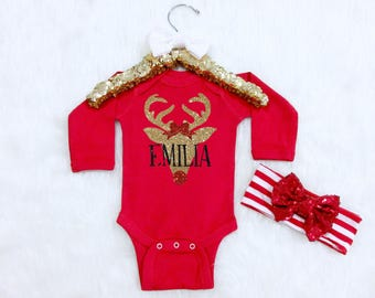 Baby Girl Christmas Reindeer Outfit. Christmas Outfit with Name. Baby Girl Christmas Outfit. Babys First Christmas Outfit.