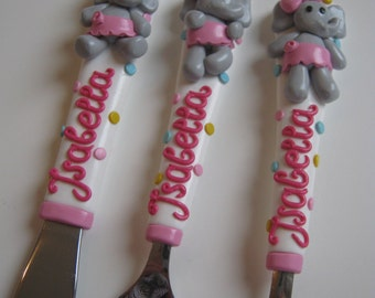 Children's Cutlery Set,Baby Shower,Gift for girl,Personalized gift,Pink,Grey,Elephant,Gift For Birthday,Ballerina,Girly