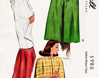 1940s 40s Vintage Sewing Pattern Cape Shawl Evening or Day Size Small Bust 38 reproduction