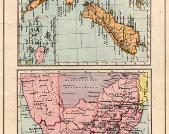 New ZEALAND and South AFRICA Vintage MAP 1930