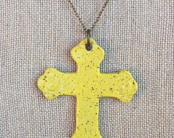 Necklace, Cross Necklace, Clay Cross Pendant, Ceramic Cross Necklace, Yellow Cross Necklace, Gifts for Women, Christian Gift, Gifts under 25