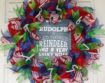 Only 45 Dollars...WHAT?!  Rudolph the Red Nosed Reindeer Saying, Quote Christmas Deco Mesh Door Wreath, Birthday, Gift, Nose
