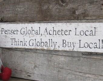 Billingual wood sign