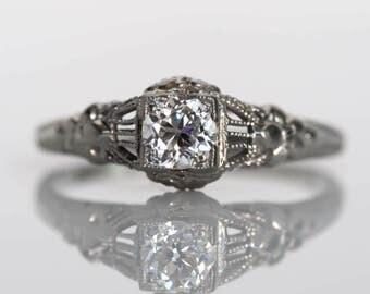 Circa 1940s Late Art Deco 14K White Gold .28ct Old European Cut Diamond Engagement Ring - VEG#742