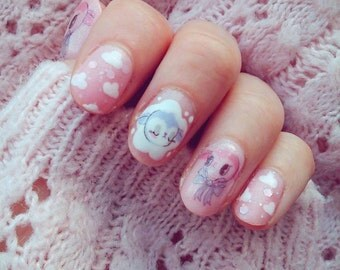 CANDY LAMBS PACK - Spring Baby Lambs Water Slide Nail Decals, Original Illustration!