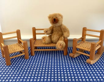 Wooden Doll Furniture Set, Couch, Chair, Rocking Chair, Woven Seats, Play House, Imaginative Play, Toy Furniture, Heirloom Toy