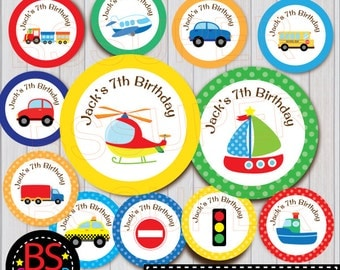 Transportation Party Cupcake Topper, Transportation Party Cake Topper, Transportation Party Tag