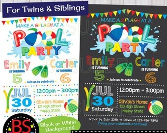 POOL PARTY Invitation, Two kids Pool Party Birthday invitation, Twins , Double Birthday Party invite, joint birthday party, sibling birthday