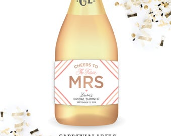 Cheers to the Future Mrs Bridal Shower Mini Wine Labels, Bridal Shower Favor Mini Champagne Labels, Bachelorette Party Favors, Shower Decor