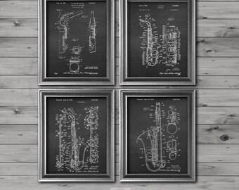 Musician decor, Vintage Saxophone Art set of 4 Chalkboard Patent Art prints of Alto Saxophone. musician gift, Saxophone Music room decor