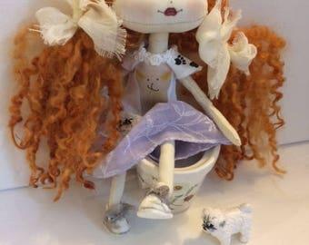 Art doll, rag doll, interior doll OOAK doll handmade  fabric doll.