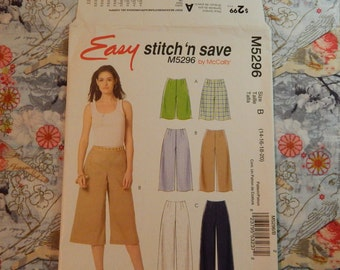 Misses Shorts, Gaucho and Pants Pattern - 2007 McCall's M5296