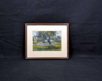 Vintage Unsigned Watercolor of a Tree, Meadow, Pond,