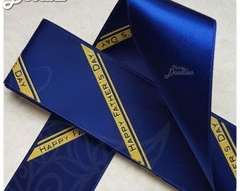 Blue & Yellow Father's Day Ribbon - 3.6cm x 3m - Single Sided - Great for daddy giftwrap