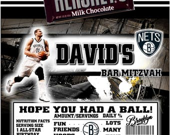 Printable Brooklyn Nets Candy Bar Wrappers Basketball Birthday Bar Mitzvah Fits 1.55 Oz Hershey Chocolate Bar Party Favors Brook Lopez