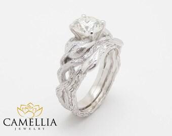 Nature Inspired Diamond Engagement Rings Set 14K White Gold Diamond Wedding Ring Branch Wedding Band Leaf Gold Ring
