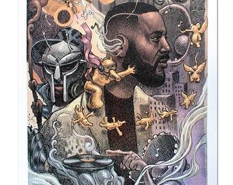 Madlib A3 Lithograph Art Print Dan Lish Ego Strip Hip Hop series