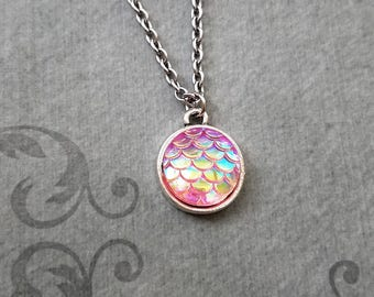 Scales Necklace SMALL Scales Jewelry Mermaid Necklace Mermaid Jewelry Charm Necklace Pendant Necklace Iridescent Scales Beach Fish Scales