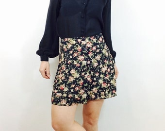 Vintage 90s GAP Floral Mini Skirt High Waisted Boho Grunge
