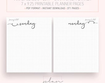Printable Planner, 2017 planner, Graph grid, Bullet journal, Bujo, Fit Mambi Classic, Daily inserts, Printable agenda, Fit Happy Planner