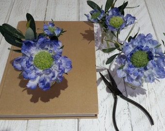 Artificial blue silk flowers Faux flower arrangements Scabious Green olive leaves foliage Bouquet Small glass vase Bedside Mothers Day gift
