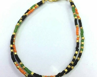 FREE Shipping Worldwide Afghan Multi Color Glass with Gold Plated Tiny seed Beads Double Strands Bracelet 7 inches Make For Order Handmade