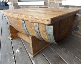 SOLD Handmade Wine Barrel Coffee Table / Wine Barrel Furniture / With Storage Compartment / Oak Wood Table Top (#456)