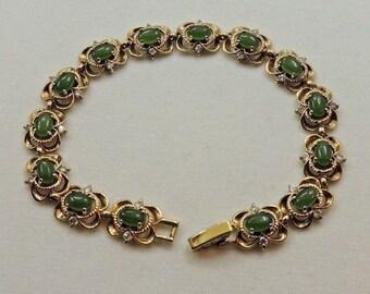 Quality Gold Tone Prong Set Jade & Clear Rhinestone Linked Open Metal Bracelet