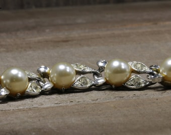Used Lisner Costume Bracelet With Artificial Pearls and Diamonds
