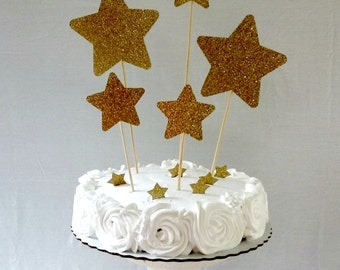 Gold Glitter Star Cake Topper - party supplies - cake decorations - first birthday - cupcake topper