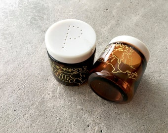 Vintage Canada Souvenir Salt & Pepper Shakers | Brown Glass | Amber Glass | Map of Canada