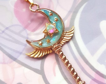 Blue Moon Wand Necklace - Sweet Lolita Magical Girl Mahou Shoujo Anime Fashion