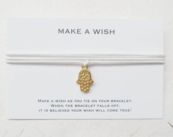Wish bracelet, make a wish bracelet, hamsa bracelet, yoga bracelet, W13