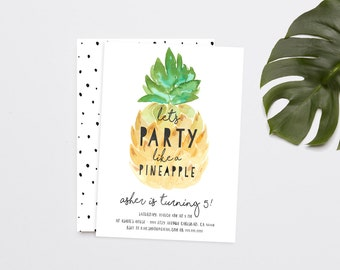 Party like a Pineapple Birthday Invitation, Aloha, Luau, Hawaiian Party Invitation (824)