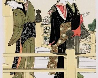 "Japanese Ukiyo-e Woodblock print, Kitao Masanobu, ""Women Of The Balcony"""
